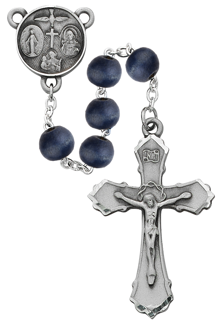 8mm Blue Wood Rosary Boxed