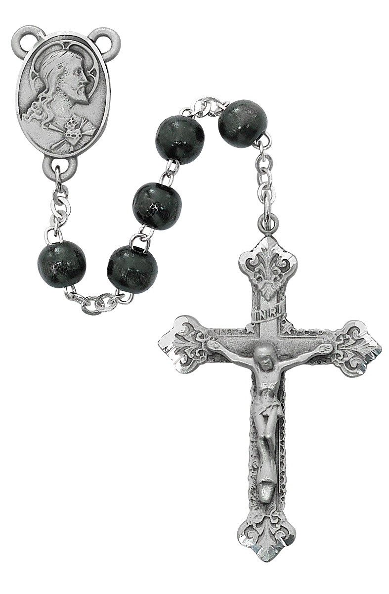 Black Wood Scared Heart Rosary Boxed