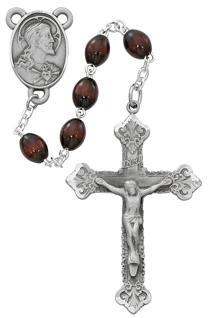 Brown Wood Scared Heart Rosary Boxed